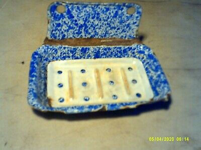 Antique Blue & White Porcelain Wall Mount Shower Soap Tray With Insert