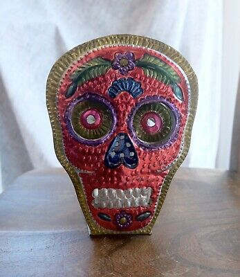 Mexican Sugar Skull Tin Milagros Folk Art Candle Holder Day Of Dead Alter