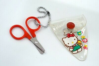 Vintage Sanrio Hello Kitty Miniature Scissors in Plastic Pouch*1990 Japan