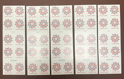 LOT OF  50 USPS Forever Stamps Patriotic Spiral Sheet of 10 x 5. Mint Condition