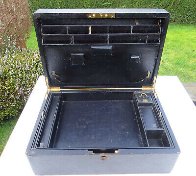 Antique Leuchars & Sons Leather Covered Travelling Writing Box - For Restoration