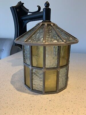 Leaded Lantern Outdoor Wall Light Multi Colour Stained Glass Hand Made Tl14Dcmc