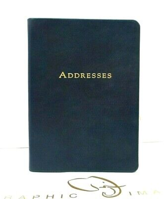 """Harrods Of London Address Book 5x7"""" Soft Flexible Cover Leather NEW Navy"""