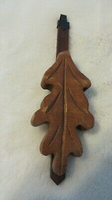 "CUCKOO CLOCK WOOD LEAF PENDULUM,  Germany 6"" Long"