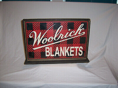 ANTIQUE POINT OF SALE STORE SIGN All WOOL BLANKETS - WOOLRICH PA
