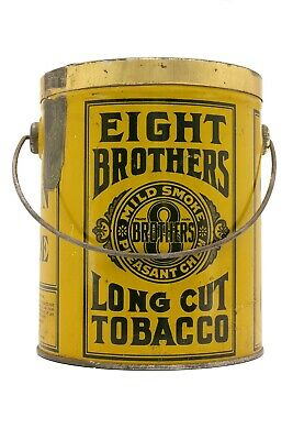 "Rare 1920s ""Eight Brothers"" litho bucket humidor tobacco tin in excellent cond"