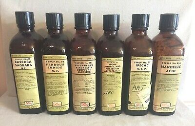 Lot Of 6 Eli Lilly's Amber Bottles Prescription Pharmacy Medicine Drug Ipecac