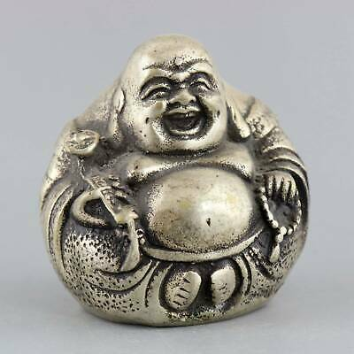 Collectable China Antique Miao Silver Carve Smile Buddha Moral Bring Luck Statue