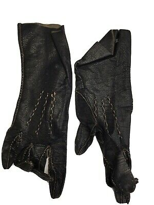 Vintage Ladies Black Leather Gloves Size Small Wrist Length Brittle