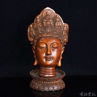 Collection China Antique Boxwood Hand-Carved Buddhism Kwan-Yin Bring Luck Statue