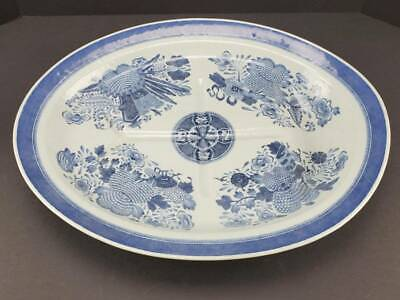 Antique Chinese Export Porcelain Blue & White Fitzhugh Meat Platter, 19""