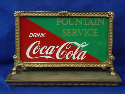 Small Red Brass National Cash Register Coca Cola Top Sign