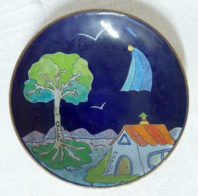 Chile P. Acuna Acune After Chagall Enamel on Copper Bowl Pin Dish