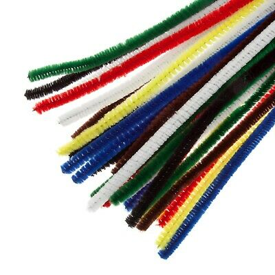 1000 X MIXED COLOUR CHENILLE CRAFT STEMS / PIPE CLEANERS 15cm long, 4mm wide
