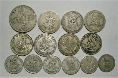 Collection Lot Great Britain (UK) Silver Coins*14 Coins*1920 - 1946*Take a Look*
