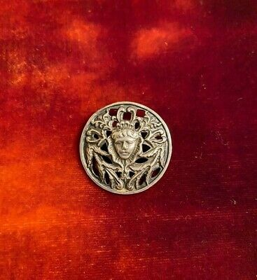 Mary Queen of Scots Antique Button Sterling Silver w/ markings  (1901)