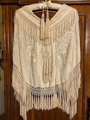 Antique Ivory Silk Embroidery Shawl / Cape with Fringe,Tassels Victorian era