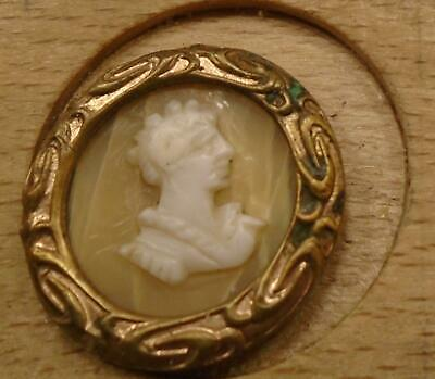 """WOW 5/8"""" Cameo on Pearl in  Brass Antique Button 33:22"""