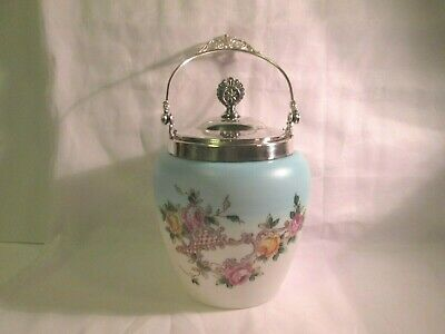 Vintage White - Light Blueish Frosted Glass Hand Painted Floral Biscuit Jar