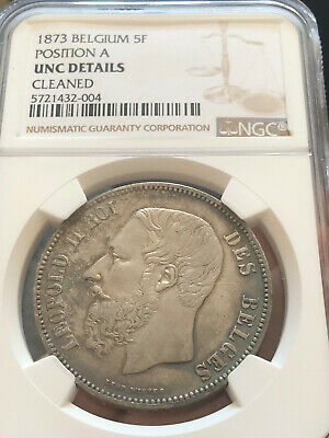 Belgium 1873 Silver 5 Franc, Europe Crown, Leopold I, NGC graded UNC