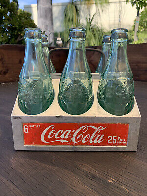 Vintage 1950's Coca Cola Coke Metal Aluminum 6 Pack Carrier Case w/1920s Bottles