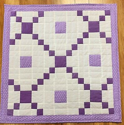 Baby Girl Quilt Handmade Purple Patchwork  Crib Blanket Irish Chain New