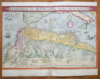 ORTELIUS Rare German Edition North Africa Mediterranean Sea Barbariae - 1573