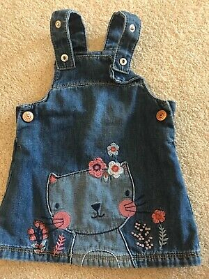 F&F baby girl 6-9 months denim floral cat pinafore dress will combine postage