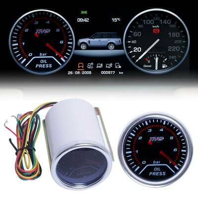 "2""52mm Car Oil Pressure LED Gauge Smoked Bar Meter with Temp Sensor Universal UK"