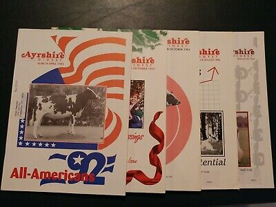 (5) 1993 Ayrshire Digest Dairy Cattle Magazines - 1992 All-Americans + Sire Book