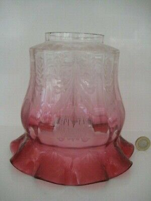 Beautiful Antique Victorian Tulip Cranberry Acid Etched Duplex Oil Lamp Shade