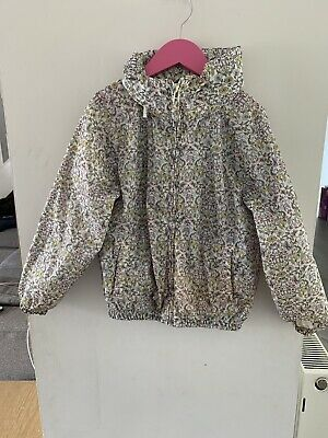 Next Girls Floral Lined Mac/ Jacket With Foldaway Hood Age 8 Years