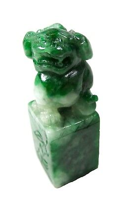 IMPERIAL Green JADEITE Seal FOO Dog