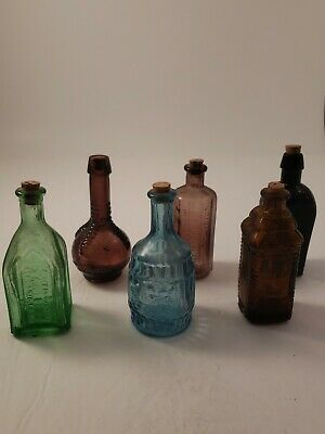 Vintage Set of 6 Miniature Colored Glass Decanters Bottles with Cork Stoppers