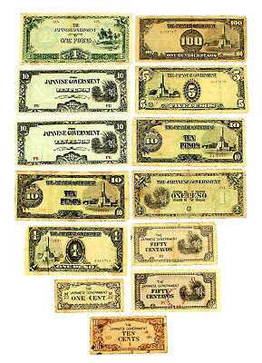 Lot Of 13 Currency Notes ~ The Japanese Government ~ Wwii Era ~ Cent/Pesos/Pound