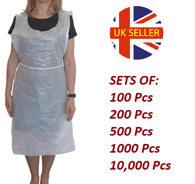 NHS Approved Disposable Plastic Waterproof Aprons UK Stock FREE Delivery