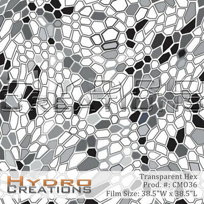 """HYDROGRAPHIC FILM HYDRO DIPPING WATER TRANSFER - TRANSPARENT HEX (38.5"""" x 38.5"""")"""