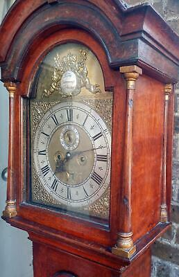 "Antique George 11  Long Case Clock Barn Dammant Colchester 12"" Brass Arch Dial"