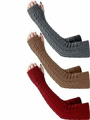 Bememo 3 Pairs Arm Warmers Winter Long Fingerless Gloves Knit Wrist Warmers w...