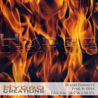 """HYDROGRAPHIC FILM HYDRO DIPPING WATER TRANSFER ORANGE FLAMES v2 (38.5"""" x 38.5"""""""