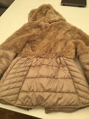 Girls Beige Fur Mayoral Coat Age 12 Rrp £55