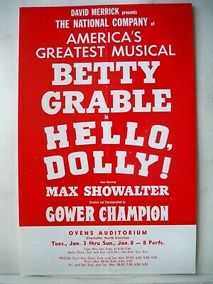 HELLO DOLLY Herald BETTY GRABLE Tour CHARLOTTE NC Ovens Auditorium 1967