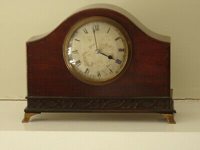 Antique clock, lever drum movement, mahogany french polished, brass feet