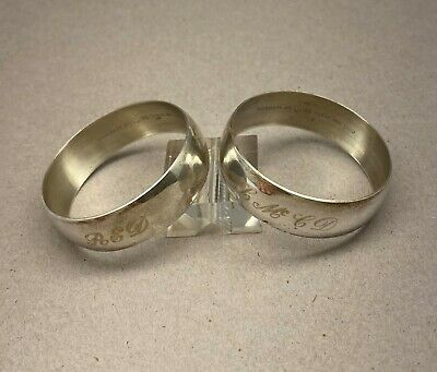Pair of Gorham Sterling Silver Napkin Rings with Mono - SALE