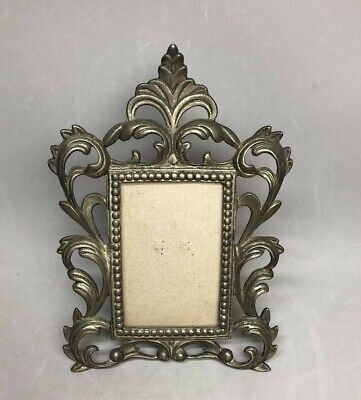 Ornate Vintage Cast Iron Picture Frame with Silver Finish Italian Style