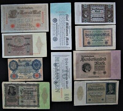Lot Of 10 Vintage Bank Notes - Germany Pre/Post Wwi Inflation - High Denoms