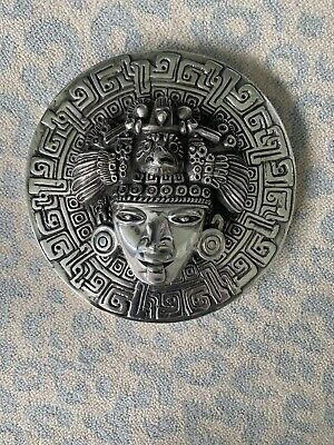 """D'Argenta Silver Mayan or Aztec Face Medallion 9"""" Wide Round"""