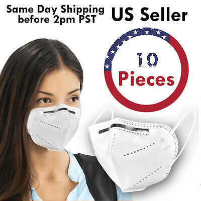 10PCS KN95 5Layer Disposable Respirator Face Mask Protective Earloop Mouth Cover