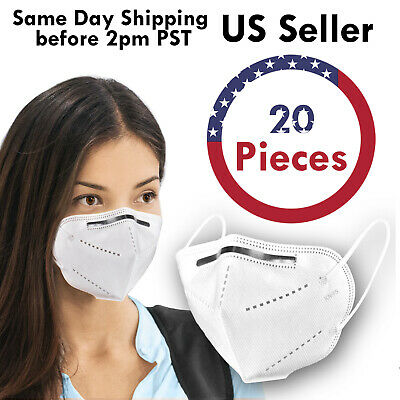 20PCS KN95 5Layer Disposable Respirator Face Mask Protective Earloop Mouth Cover