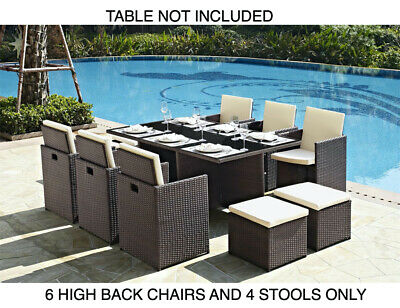 6 Garden Furniture Dining Chairs and 4 Footstool Only PE Rattan New 10pc